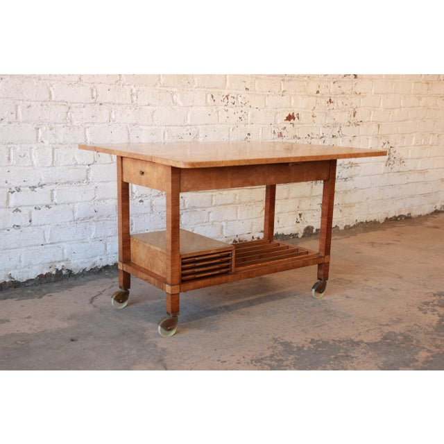 Image of Bernhard Rohne For Mastercraft Burled Olive Wood Bar Cart