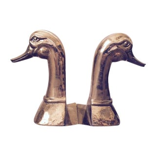 Large Vintage Brass Duck Bookends