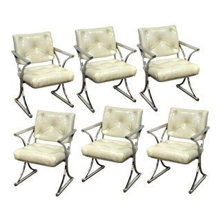 Vintage Mid-Century Modern Chrome X-Form Dining Chairs - A Pair
