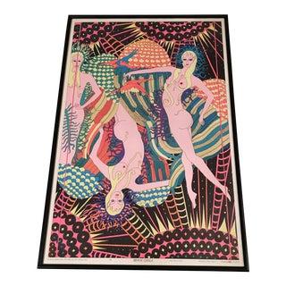 1960s Eduardo Arderi Psychedelic 'Moon Girls' Framed Poster