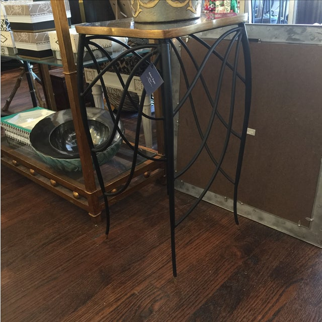 Modern Black & Gold Metal Leg Side Table - Image 2 of 4
