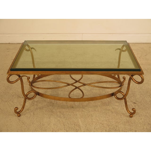 glass top gold iron base coffee table chairish. Black Bedroom Furniture Sets. Home Design Ideas