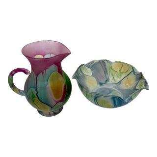 Vintage Israeli Hebron Hand Painted Satin Finish Art Glass Pitcher & Bowl