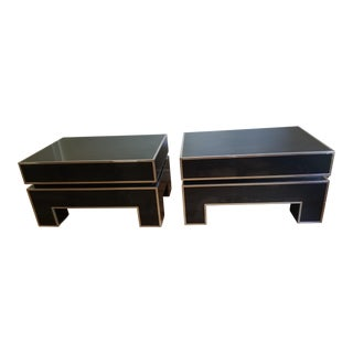 Chrome Trimmed Lacquered Side Tables - A Pair