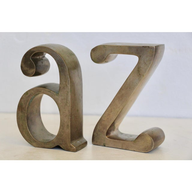 Brass Plated a & Z Bookends - A Pair - Image 3 of 5