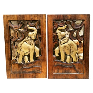 Vintage Hand Carved Wood Elephant Hangings - Pair
