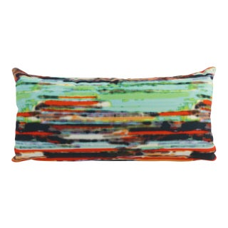 Custom Rainbow-Striped Multi-Colored Velvet Kidney Pillow