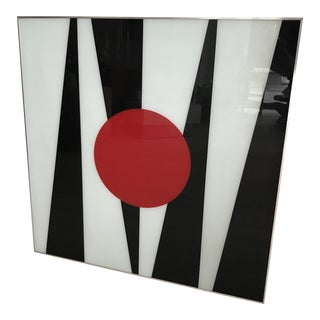 1970s Black and White Turner MFG Glass Art In Chrome Frame