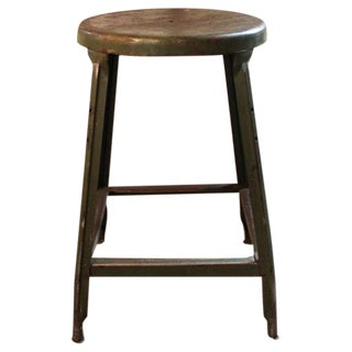 Vintage Industrial Metal Backless Stool