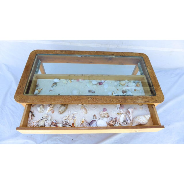 Image of Beach Coffee Table With Glass Top and Shells
