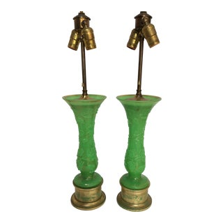 Antique French Green Opaline Glass Lamps - a Pair