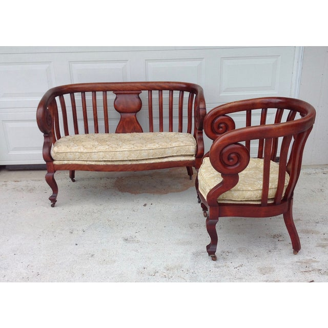 Antique Empire Spiral Loveseat & Chair Set - Image 2 of 5