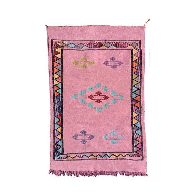 "Pink Moroccan Kilim Rug - 3'3"" X 4'10"""