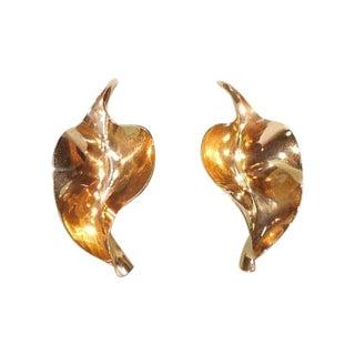 Sculptural Anticlastic 14K Gold Earrings