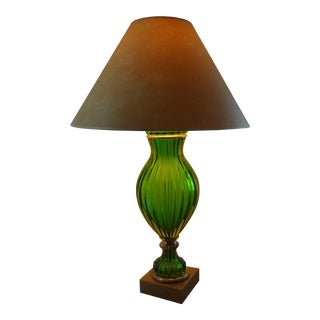 Mid-Century Green Murano Glass Lamp