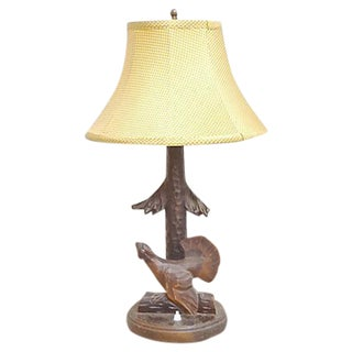 Vintage Black Forest Hand-Carved Bird Lamp