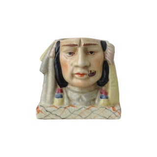 Ceramic Crackle Indian Chief Style Pencil Holder