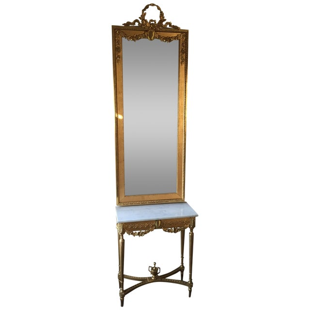 1915 Antique Guilt Wall Mirror & Console Table Set - Image 1 of 11