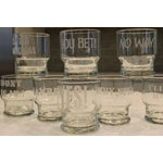 Image of 1970s Rocks Glasses with Etched Sayings - Set of 8
