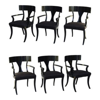 Set of Six Black Lacquer Klismos Armchairs, Manner of Robsjohn-Gibbings
