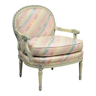 Vintage French Louis XVI Style Pink & Blue Carved Bergere