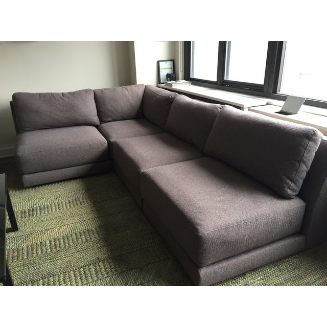 Crate barrel grey tweed sectional sofa chairish for Grey tweed couch