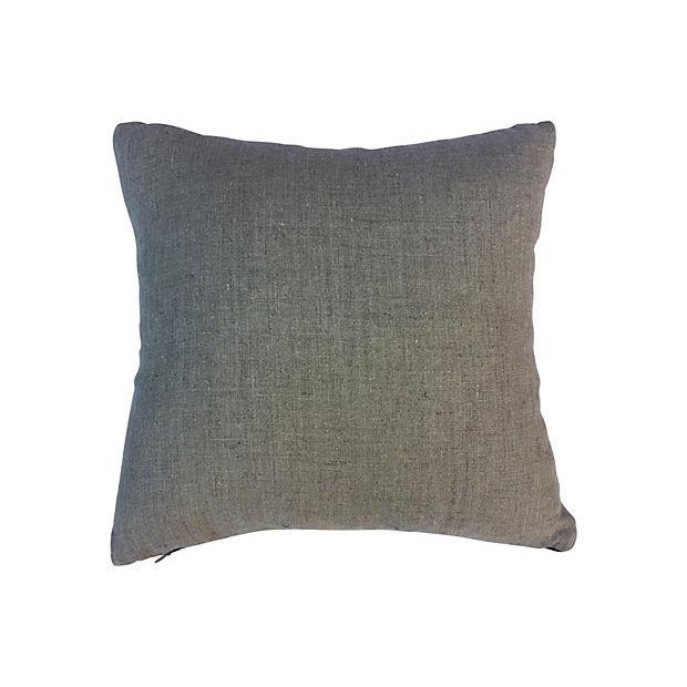 Antique Indigo Embroidered Cat Pillow - Image 5 of 5