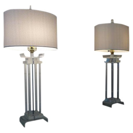 Asian Style Lucite Lamps - Pair - Image 1 of 6