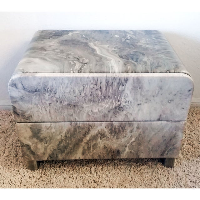 Image of 1970's Faux Marble Nighstands - Pair