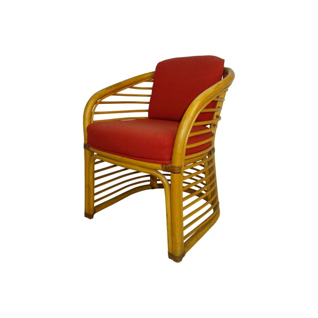 Mid-Century Deco Stylized Rattan Arm Chair - Image 1 of 10