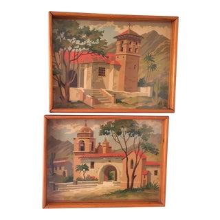 Original Santa Barbara Mission Paintings - A Pair