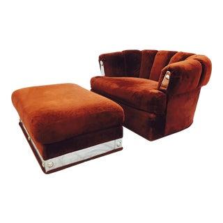 Vintage Mid-Century Modern Chair & Ottoman - A Pair