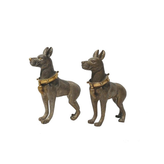 Image of Metal Mini Table Top Dogs Figure - Pair