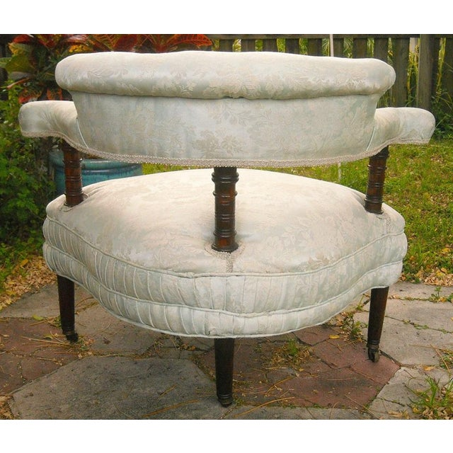 Antique Victorian Walnut Tub Chair - Image 5 of 9