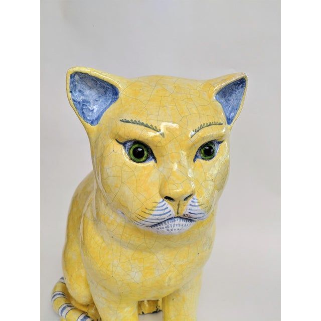 Emil Galle Style Terra Cotta Cat With Glass Eyes - Image 6 of 11