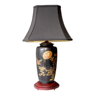 Antique Japanese Bird & Flower Enameled Lamp Chinoiserie Silk Pagoda Shade