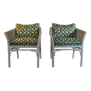 Pole Rattan Caned Chairs - A Pair