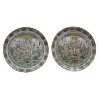 Antique Chinese Mandarin Plates -Pair