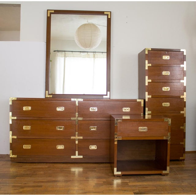 campaign style high boy lingerie dresser with locking jewelry drawer mid century chairish. Black Bedroom Furniture Sets. Home Design Ideas