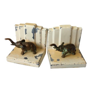 Art Deco Elephant Bookends - A Pair