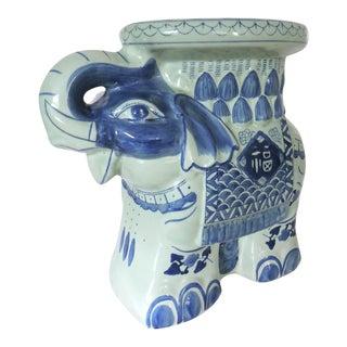 Blue, White Elephant Pedestal/Stand