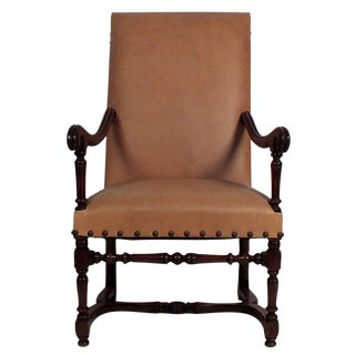 19th Century French Renaissance Leather Armchair