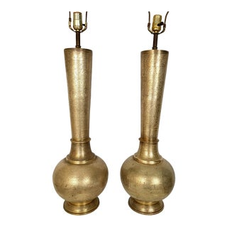 Monumental Pair Etched Brass Lamps