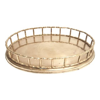 Mid-Century Brass Bamboo Oval Tray