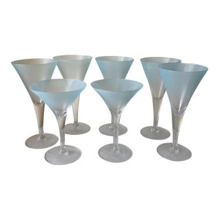 Frosted Blue Cocktail Glasses - Set of 7
