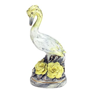 Hand-Painted Ceramic Crane Sculpture