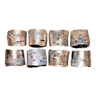 Faux Bois Pewter Napkin Rings - Set of 8