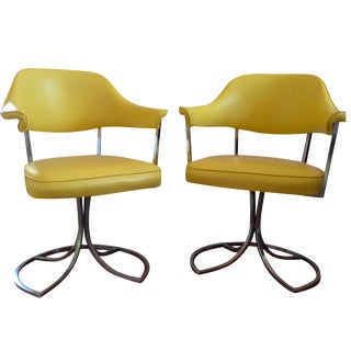 Chrome & Yellow Leatherette Swivel Chairs
