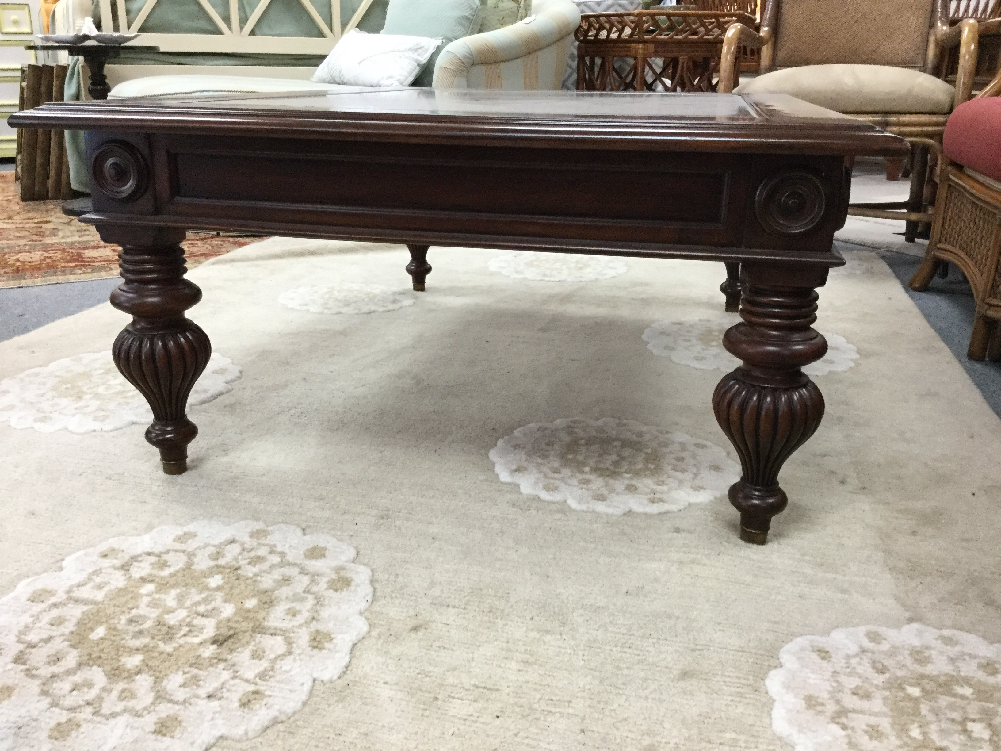 ethan allen british colonial coffee table | chairish