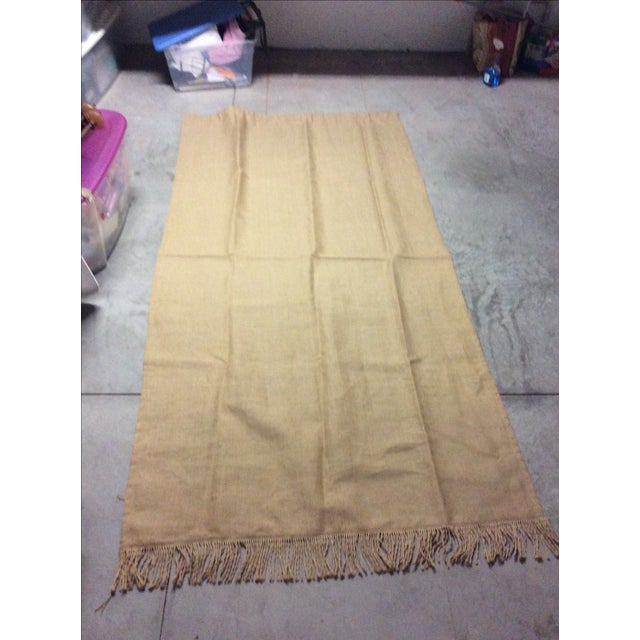 Ballard Lined Burlap Fringed Drapes- A Pair - Image 2 of 6